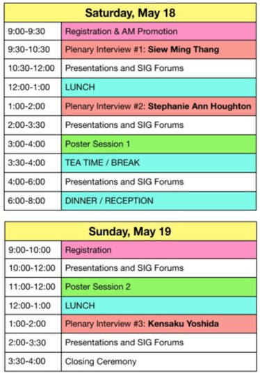 PanSIG 2019 Schedule overview